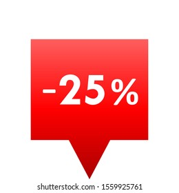 Sale - minus 25 percent - red gradient tag isolated - vector illustration