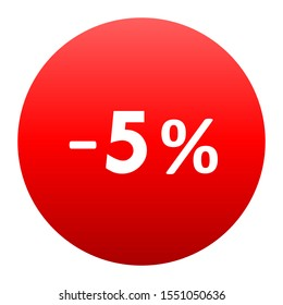 Sale - minus 5 percent - red gradient tag isolated - vector illustration