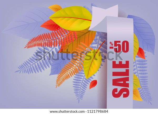 Sale, minus fifty percent lettering, yellow and purple leaves. Seasonal offer or sale advertising design. Typed text, calligraphy. For leaflets, brochures, invitations, posters or banners.
