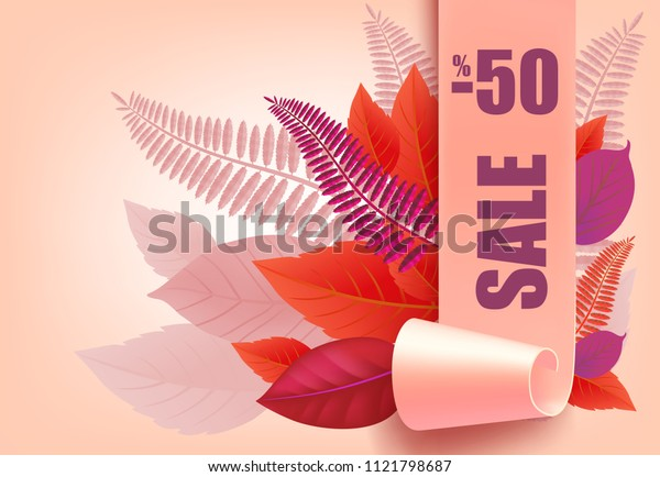 Sale, minus fifty percent lettering, purple and pink leaves. Seasonal offer or sale advertising design. Typed text, calligraphy. For leaflets, brochures, invitations, posters or banners.