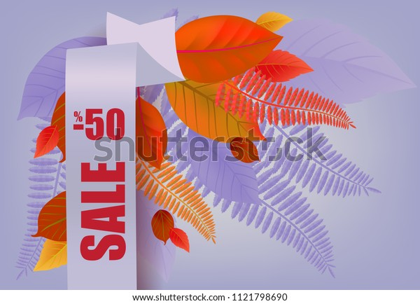 Sale, minus fifty percent lettering, orange and purple leaves. Seasonal offer or sale advertising design. Typed text, calligraphy. For leaflets, brochures, invitations, posters or banners.