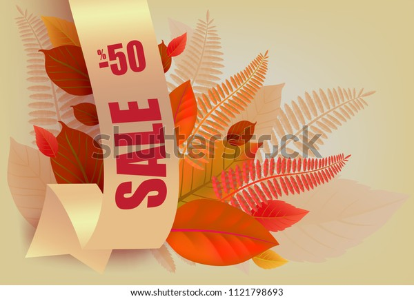 Sale, minus fifty percent lettering, orange and yellow leaves. Seasonal offer or sale advertising design. Typed text, calligraphy. For leaflets, brochures, invitations, posters or banners.