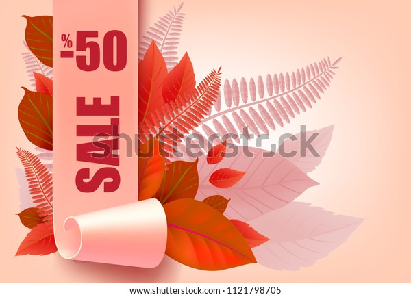 Sale, minus fifty percent lettering with autumn leaves. Seasonal offer or sale advertising design. Typed text, calligraphy. For leaflets, brochures, invitations, posters or banners.