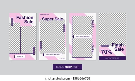 Sale mobile template collection for promotion sale with geometric style. Editable mobile banner for stories or social media post, web and internet. Promotion sale bundle