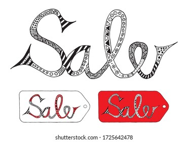 Sale modern text, hand drawn lettering element, isolated on white background