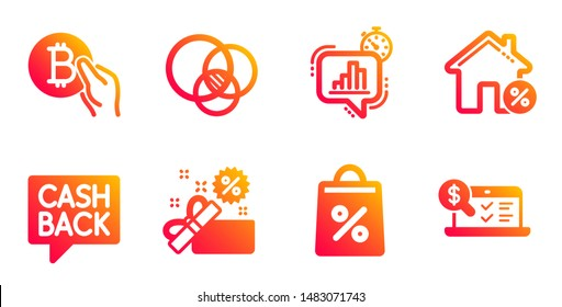 Sale, Money transfer and Shopping bag line icons set. Statistics timer, Euler diagram and Bitcoin pay signs. Loan house, Online accounting symbols. Gift box, Cashback message. Finance set. Vector