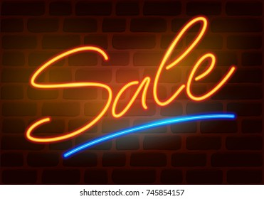 Sale neon sign on dark brick wall background. Hand drawn lettering. Vector illustration