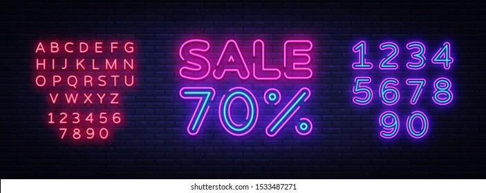 Sale neon sign vector. Big Sale Design template neon sign, light banner, nightly bright advertising, light inscription. Vector illustration. Editing text neon sign