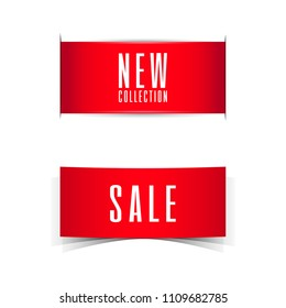 Sale and NEW Collection Banner Ribbon. Vector Illustration.s