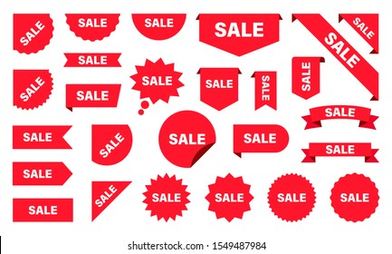 Sale and New Label collection set. Sale tags. Discount red ribbons, banners and icons. Shopping Tags. Sale icons. Red isolated on white background, vector illustration.