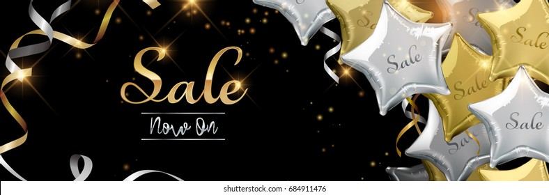 Sale now on background with silver and gold star shaped balloons. Vector illustration.Wallpaper.flyers, invitation, posters, brochure, banners