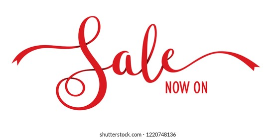SALE NOW ON red vector brush calligraphy banner