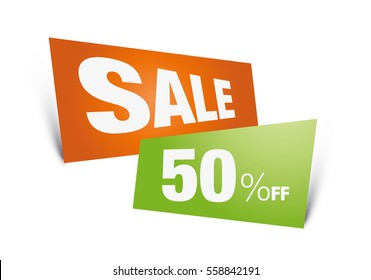sale, off, 50%, on orange, and green, tag