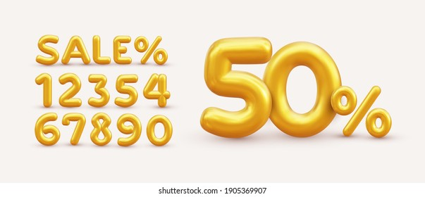 Sale off discount promotion set made of realistic numbers 3d gold helium balloons. Vector Illustration of balloon golden 50% percent discount collection for your unique selling poster, banner ads. - Shutterstock ID 1905369907