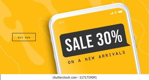 Sale offer concept for mobile. Big Sale on mobile phone for online marketing with messenger. Illustration design for website banner, flyers, app or poster.