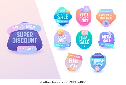 Sale Offer Geometric Colorful Mega Set. Online Advertising Campaign Special Price Offer Line Sticker Badge Geometric Design. Free Neon Tag Gradient Promotion Element 3d Vector Illustration