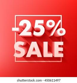 Sale offer poster banner vector illustration. Volume 3D letters in frame on red background.