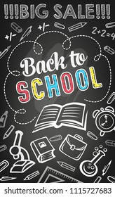 Sale offer of school supplies banner template. Open book chalk sketch on blackboard with pencil, ruler and alarm clock, microscope and backpack for discount flyer and back to school sale poster design