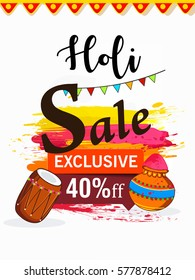 Sale, Offer, Tag Design, Vector Illustration on decorative grungy background for the celebration of Hindu Festival Holi.