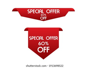 sale and offer tag. red color, creative abstract tag design