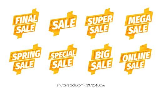 Sale offers ribbon sticker set. Advertising promotion poster. Mega super final spring. Big online. 3d letters on a orange golden background. Special slogan, super call for purchases. Vector