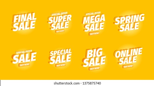 Sale offers set. Advertising promotion set. 3d letters on a yellow background. Special offer slogan, super call for purchases. Vector color Illustration text marketing.