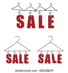 sale on hanger for clothes in red color art illustration