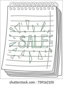 Sale on notebook background. Vector illustration.