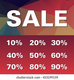 Sale with percent discount on geometric background