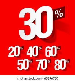 Sale percents. Vector.