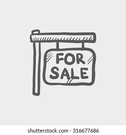For sale placard sketch icon for web, mobile and infographics. Hand drawn vector dark grey icon isolated on light grey background.