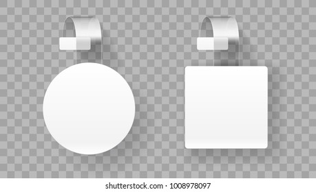 Sale Point Tag. White Clear Round And Square Supermarket Shelf Wobbler Label. EPS10 Vector