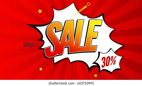 Sale pop art splash background, explosion in comics book style. Advertising signboard, price reduction, sale with halftone dots, clouds beams on red backdrop. Vector template for ad, covers, posters.