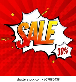 Sale pop art splash background, explosion in comics book style. Advertising signboard, price reduction, sale with halftone dots, cloud beams on red backdrop. Vector template for ad, covers, posters.