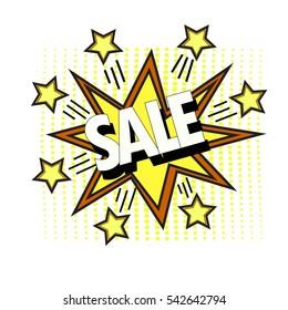 Sale pop art stars over dotted background. vector illustration
