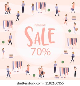 Sale poster background. Flat design of group people walking in the shop. Editable vector illustration.