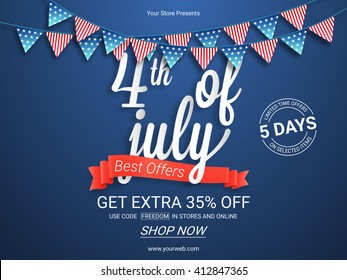 Sale Poster, Sale Banner, Sale Flyer, Best Offers Ribbon, 5 Days Sale, Limited Time Offers. Creative vector illustration for 4th of July, American Independence Day.