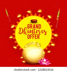 Sale poster or sale banner with golden shiny pot filled with gold coins of indian dhanteras diwali festival celebration background. Shubh dhanteras.