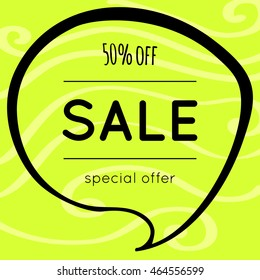 Sale poster, banner. Green background with light waves. Special price