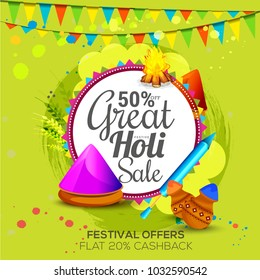 Sale Poster For sale Banner Template Design For Festival Of Holi.