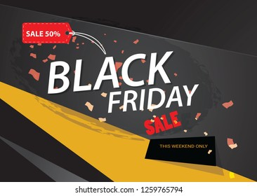 Sale poster of black friday design template - Vector