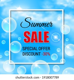 Sale poster with blue sky, clouds and soap bubbles background. Realistic text vector background.