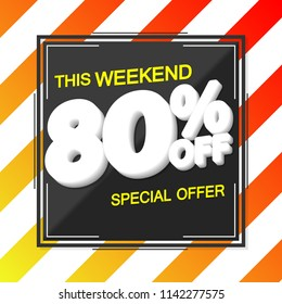 Sale poster design template, discount 80% off, special offer, vector illustration