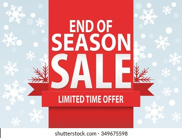 Sale poster; end of season sale with stylized white snowflakes, vector illustration