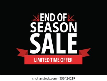 Sale poster; end of season sale with stylized snowflakes on black background, vector illustration