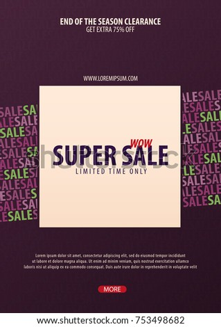 sale poster flyer design discount background stock vector royalty