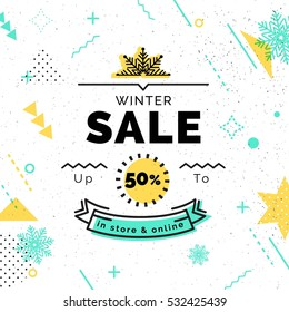 Sale poster with geometric shapes. Winter Sale vector illustration. Vector background in retro 80s, 90s memphis style.