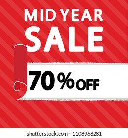 Sale poster. label. mid year sale. free space for text. wallpaper. background.