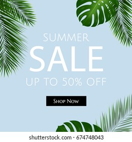 Sale Poster With Palm Trees, Vector Illustration
