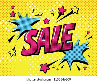 Sale poster in pop art style. Comic, cartoon dotted background with stars. Vector illustration. For seasons sale design